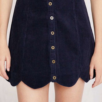 Cooperative Scalloped Button-Front Corduroy Mini Skirt - Urban Outfitters