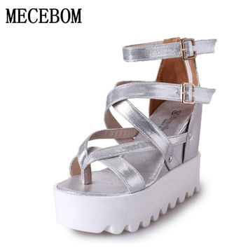Fashion Sandals Summer Wedges Women's Sandals Platform Lace Belt Bow Flip Flops open toe high-heeled Women shoes Female 9909W