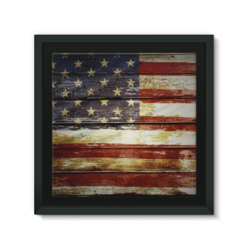 Retro American Flag on Wood Planks Framed Canvas
