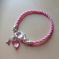 Pink & White Spiral Awareness Friendship Bracelet-Breast Cancer-Cleft Palate
