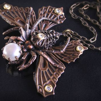 Butterfly Necklace Spider Necklace Art Nouveau Style Necklace