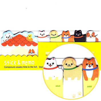 Adorable Puppy Dog House Memo Pad Post-it Index Tab Sticky Notes Bookmarks | Cute Animal Themed Stationery Supplies