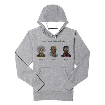 Great Men Thru History hoodie heppy feed and sizing.