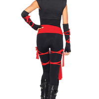Sexy Deadly Ninja Samurai Jumpsuit Outifit Women Halloween Costume