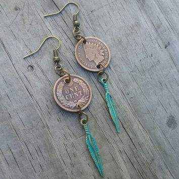 American indian penny coin earrings. One cent dangle earrings. Turquoise Patina finish dangle earrings.  Feather earrings. Western earrings.