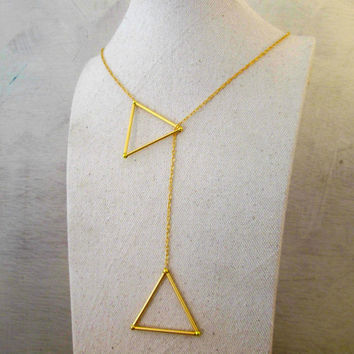 Gold Double Triangle Necklace - Geometric Jewelry - Gold Geometric Necklace - Big Triangle Necklace