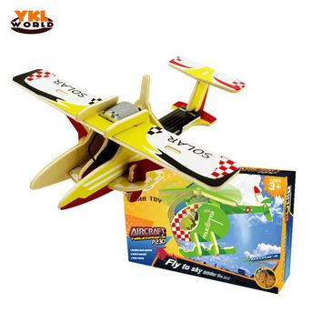 YKLWorld 2017 Wooden Solar Power 3D Aircraft Jigsaw Airplane Helicopter DIY Puzzle Building Block Educational Toy Child Gift -45