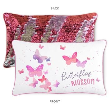 BLOSSOM Butterfly Pillow w/ Reversible Pink & Silver Sequins