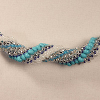 Aegean Blue bead woven bead work seed bead sprial by DoubleHalo