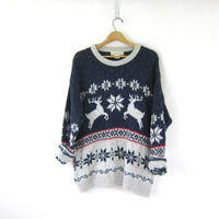 vintage Reindeer and Snowflake sweater. Winter Christmas sweater. Navy blue & gray cotton. Holiday novelty sweater. extra large XL