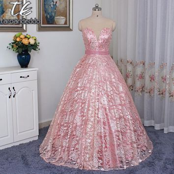 Sheer Jewel Neck Coral/Pink Lace Ball Gown Prom Dress Pearls Beading Sash Evening Gown Open Back vestido longo festa