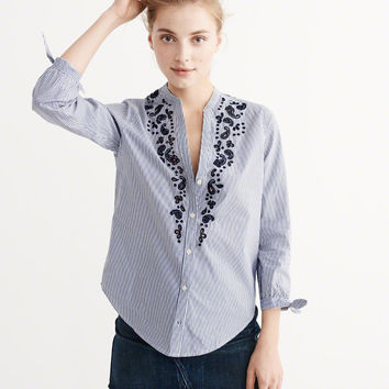 Womens Embroidered Poplin Top | Womens New Arrivals | Abercrombie.com