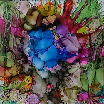 Jacque's World Alcohol Ink Painting on Ceramic Tile with Black Frame