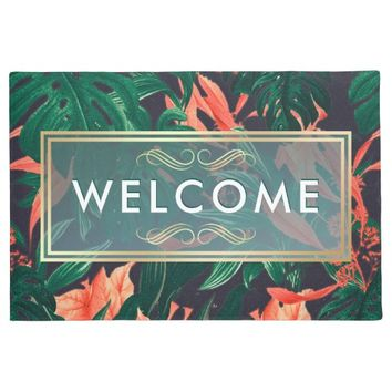 Elegant Tropical Floral Modern Gold Frame Welcome Doormat