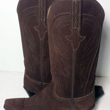 Lucchese 1883 Brown Suede Leather Western Cowgirl Cowboy Boots Women's Size 6.5
