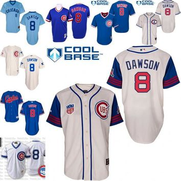 2016 World Series Champions patch Andre Dawson baseball Jersey , Men's #8 Mitchell And Ness Chicago Cubs 1942 Turn Back The Clock