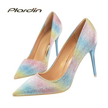 plardin 2018 Shoes Woman Sequins Pointed Toe Sexy Women  Party Wedding Nightclub mixed colors Thin High Heel Pumps women shoes