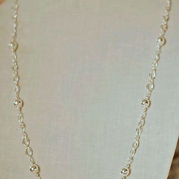 Handmade Long Silver Necklace Silver Chain Necklace Silver Beaded Necklace