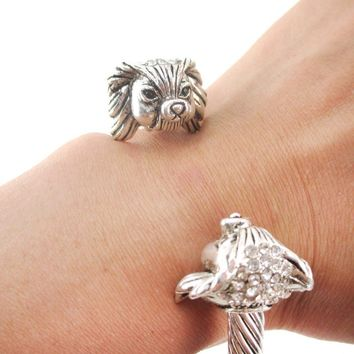 Papillon Toy Spaniel Shaped Bangle Bracelet in Silver
