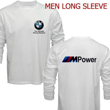 BMW M Power Logo T-Shirt Men Long Sleeve tshirt White Cotton S - 2XL