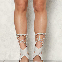 Grey Leatherette Thick Strap Lace Up Sandals