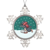 Scarf Penguin Throwing Snowball Christmas Cartoon Snowflake Pewter Christmas Ornament
