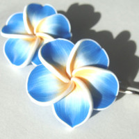 Heavenly Blue Tropical Flower Bobby Pins Set of 2