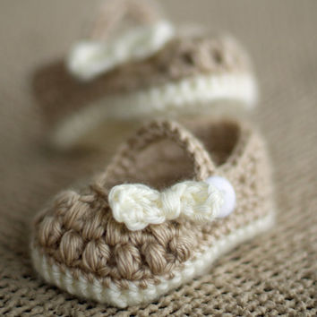 Crochet Baby Booties - Baby Girl Booties -  Little Bo Peep Mary Janes