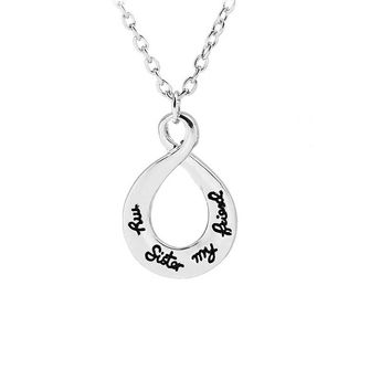 Hollow Heart Engraved Silver Pendant Necklace