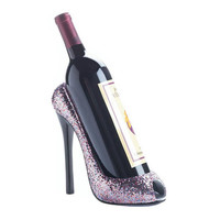 Glittering Pink Peep Toe High Heel Shoe Wine Bottle Holder