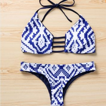 Blue and White Diamond Bikini (Swimsuit)