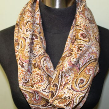 Gold, Brown and Blush Paisley Infinity Scarf