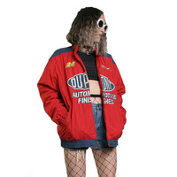 Vintage 90s NASCAR Jacket - Dupont Automotive Finishes - Racing Jacket Race Car - Unisex Cyber Goth Y2K - Hip Hop Red and Blue Size Medium