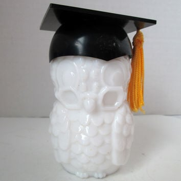 Vintage Graduation Owl Avon Perfume Bottle Bright Yellow Tassle