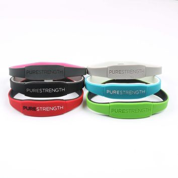 1PC High Quality PURE STRENGTH silicone energy wristband rubber power bangle balance Double-sided wear sports bracelet