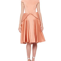 Zac Posen Off-Shoulder Full-Skirt Dress, Light Coral