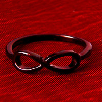 Infinity Ring - Simple Elegance - Silver or Black Enamel Finish - Sz 6
