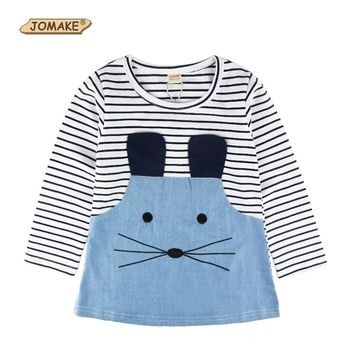 Retail 2-7Y Spring And Autumn New Children Clothing Striped Patchwork Character Baby Girls Dress Denim Long Sleeve Girls Dress