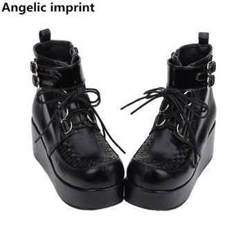 Angelic imprint mori girl Women motorcycle punk shoes lady high heels lolita ankle boots woman princess dress pumps 9710 8cm 47
