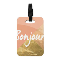 "KESS Original ""Bonjour Gold"" Decorative Luggage Tag"