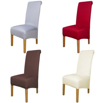 4/5/6 Pieces solid color special large Polyester Chair Cover Spandex Wedding Chair Covers Dining housse