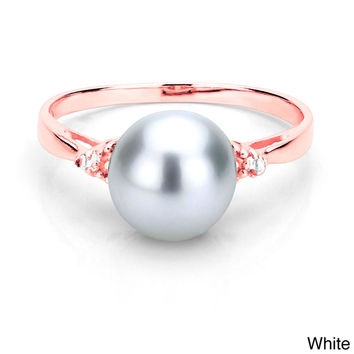 DaVonna 24k Gold over Silver 1/10ct TDW Diamond Ring Pearl (8-9 mm) (L-M, I1-I2) | Overstock.com Shopping - The Best Deals on Pearl Rings