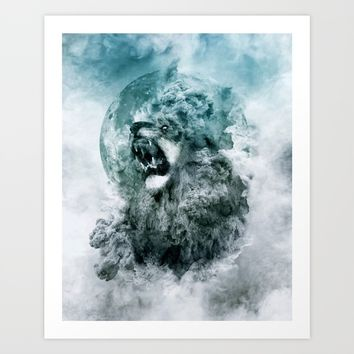 Lion Blue Art Print by RIZA PEKER