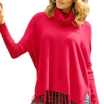 Chicloth Red Turtleneck Fringe Hemline Tunic Sweater