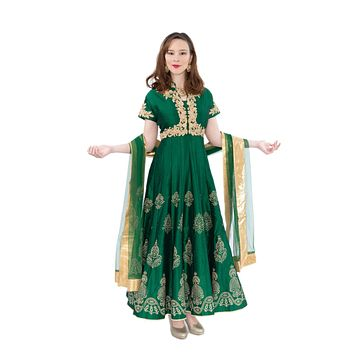 Pine Frost with Gold Embroidered Indo-Western Long Anarkali Gown