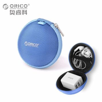 ORICO Headphone Case Bag Portable Earphone Earbuds U-disk Storage for Memory Card USB Cable Organizer Mini Earphone Bag-Blue
