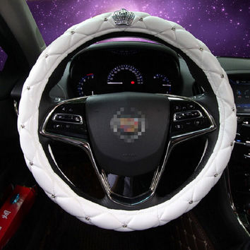7 color car steering wheel cover PU leather Rhinestone Crystal Diamond Crown styling auto interior decoration accessories
