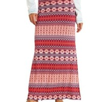 Tribal Print Double Slit Maxi Skirt by Charlotte Russe