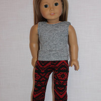 grey tank top, stretchy red & black  print leggings, 18 inch doll clothes, american girl, maplelea