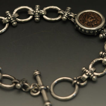 sterling silver handmade bracelet with authentic widow mite coin-ancient coin jewelry-handmade coin bracelet